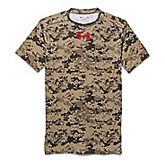Mens Under Armour Desert Digi Camo Compression Shirt Short Sleeve Technical Tops