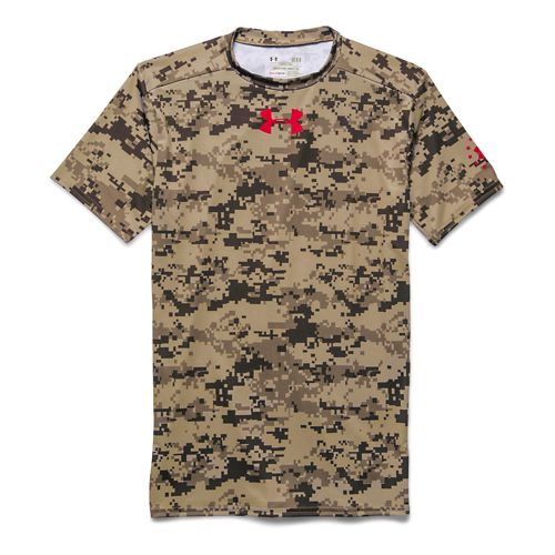 Mens Under Armour Desert Digi Camo Compression Shirt Short Sleeve Technical Tops - Golden Khaki ...