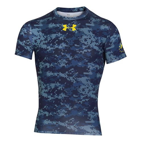 Mens Under Armour Shipboard Digi Camo Compression Shirt Short Sleeve Technical Tops - Midnight ...