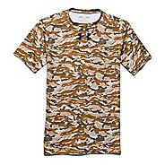 Mens Under Armour Woodland Camo Compression Shirt Short Sleeve Technical Tops - Coyote Brown XXL