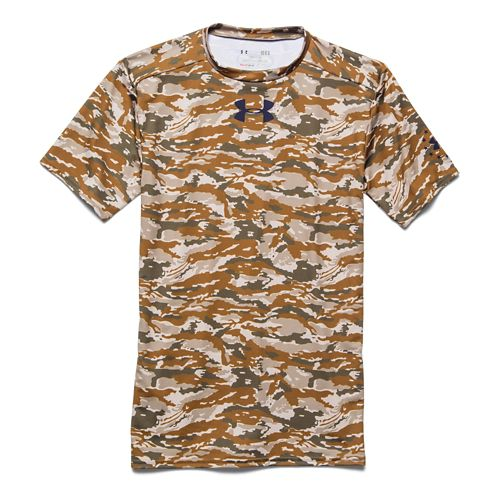 Mens Under Armour Woodland Camo Compression Shirt Short Sleeve Technical Tops - Coyote Brown L ...
