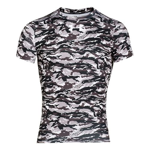 Mens Under Armour Woodland Stealth Camo Compression Shirt Short Sleeve Technical Tops - Black S ...