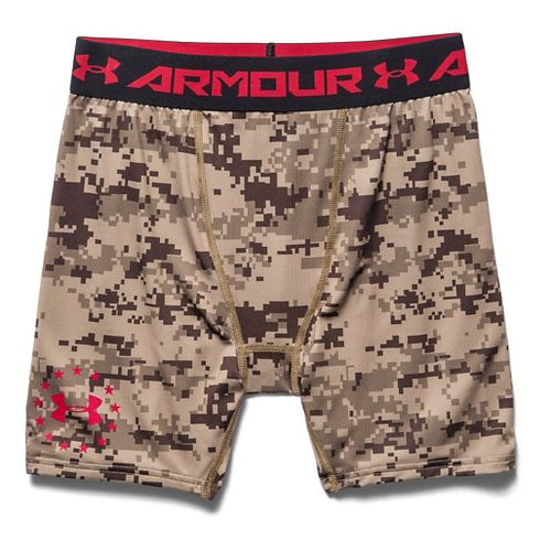 Mens Under Armour Desert Digi Camo Compression Unlined Shorts - Golden Khaki XXL