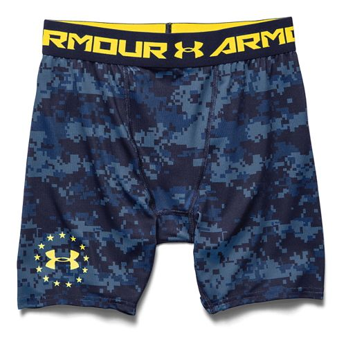 Mens Under Armour Shipboard Digi Camo Compression Unlined Shorts - Midnight Navy 3XL
