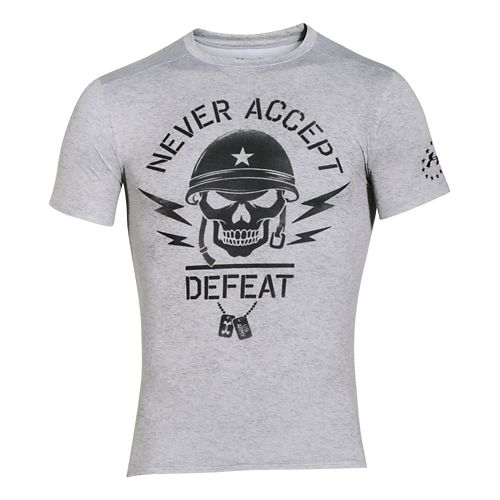 Mens Under Armour Never Accept Defeat Compression Shirt Short Sleeve Technical Tops - True Gray ...