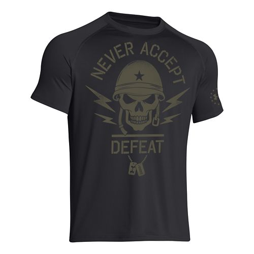 Mens Under Armour Never Accept Defeat T Short Sleeve Technical Tops - Black XXL