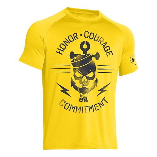 Mens Under Armour Honor Courage Commitment T Short Sleeve Technical Tops - Bright Yellow L ...