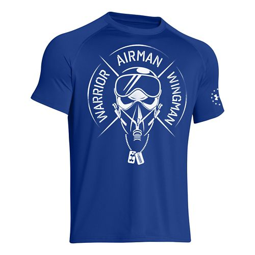 Mens Under Armour WAW T Short Sleeve Technical Tops - Royal L