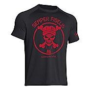 Mens Under Armour Semper Fidelis T Short Sleeve Technical Tops - Black S