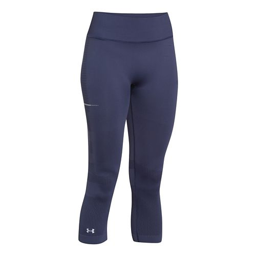Womens Under Armour Run Seamless Capri Tights - Faded Ink XS