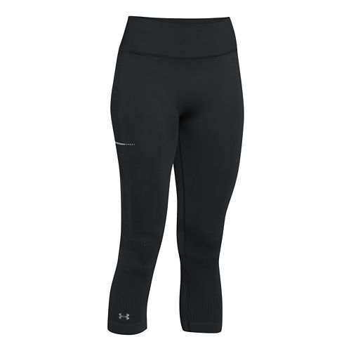 Womens Under Armour Run Seamless Capri Tights - Black/Black M