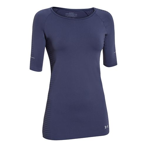 Womens Under Armour Run Seamless 3/4 Sleeve Short Sleeve Technical Tops - Faded Ink L ...
