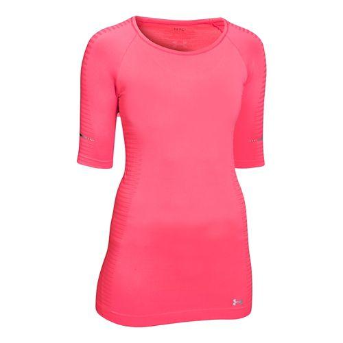 Womens Under Armour Run Seamless 3/4 Sleeve Short Sleeve Technical Tops - Pink Shock M ...