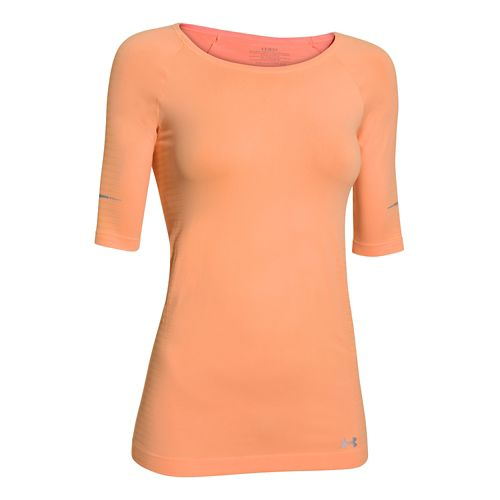 Womens Under Armour Run Seamless 3/4 Sleeve Short Sleeve Technical Tops - Afterglow L