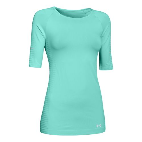 Womens Under Armour Run Seamless 3/4 Sleeve Short Sleeve Technical Tops - Crystal M