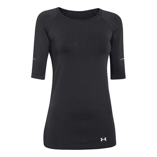 Womens Under Armour Run Seamless 3/4 Sleeve Short Sleeve Technical Tops - Crystal L
