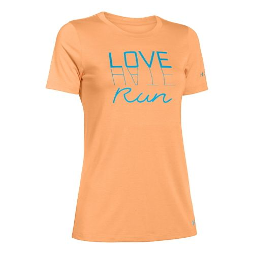 Womens Under Armour Love Hate Run Crew Short Sleeve Technical Tops - Afterglow/Blue XL