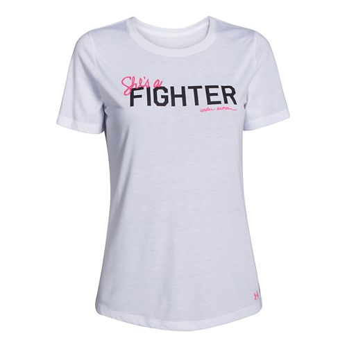 Womens Under Armour Power In Pink Shes a Fighter Crew Short Sleeve Technical Tops - ...