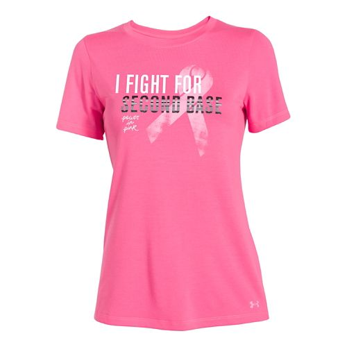 Womens Under Armour Power In Pink Second Base Crew Short Sleeve Technical Tops - Cerise ...
