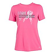 Womens Under Armour Power In Pink Second Base Crew Short Sleeve Technical Tops