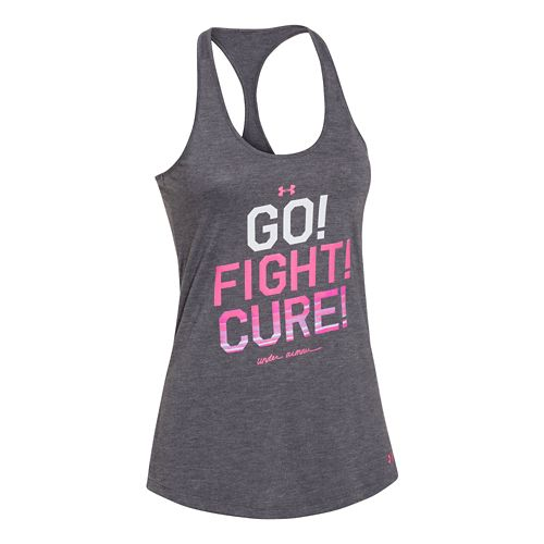 Womens Under Armour Power In Pink Go Fight Cure Tank Technical Tops - Carbon Heather ...