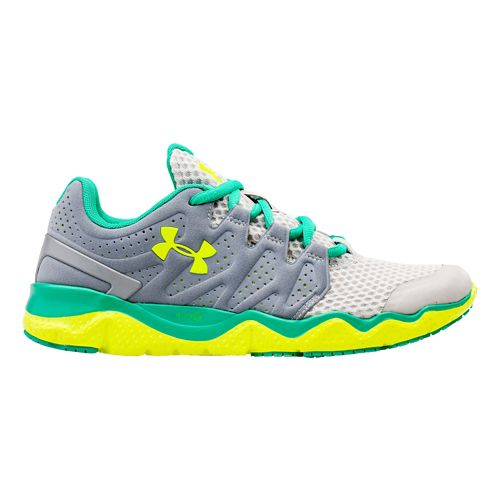 Womens Under Armour Micro G Optimum Running Shoe - Steel/Emerald Lake 6.5
