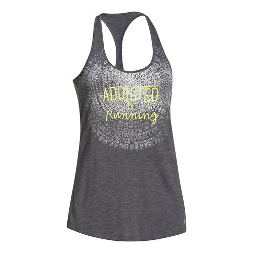 Womens Under Armour Addicted to Running Tank Technical Tops - Carbon Heather/X-Ray M