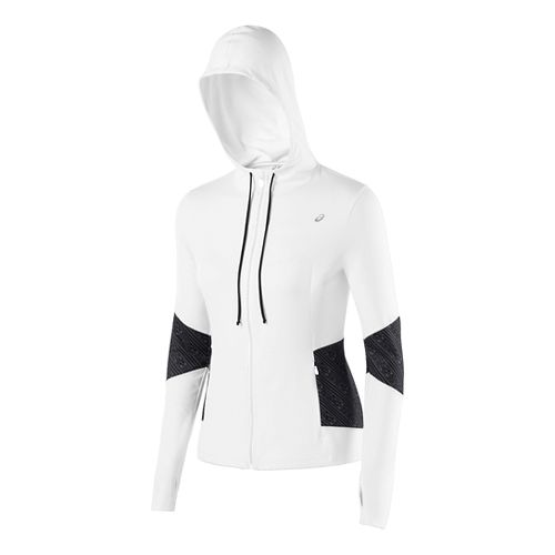 Womens ASICS Thermopolis Hoody Warm-Up Hooded Jackets - Real White XS