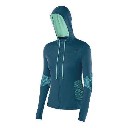 Womens ASICS Thermopolis Hoody Warm-Up Hooded Jackets - Mosaic Blue/Aqua L