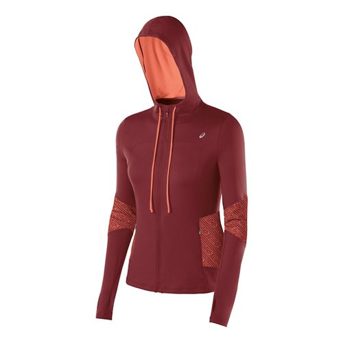 Womens ASICS Thermopolis Hoody Warm-Up Hooded Jackets - Deep Ruby/Coral XS