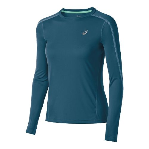 Womens ASICS Lite-Show Long Sleeve No Zip Technical Tops - Mosaic Blue S