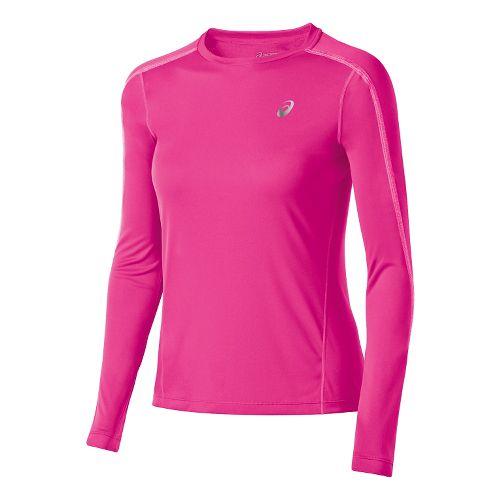 Womens ASICS Lite-Show Long Sleeve No Zip Technical Tops - Pink Glow L