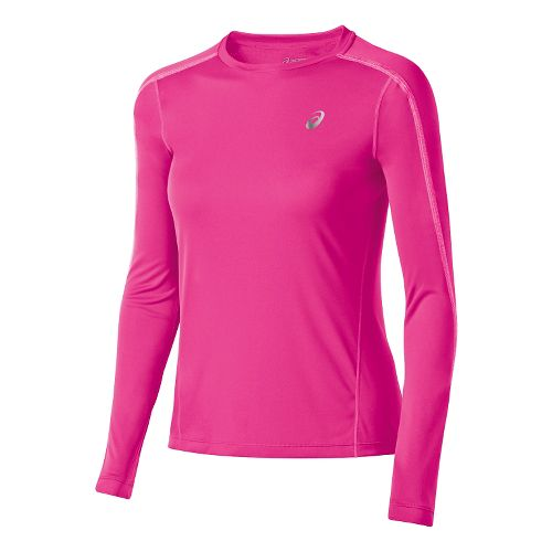 Womens ASICS Lite-Show Long Sleeve No Zip Technical Tops - Pink Glow S