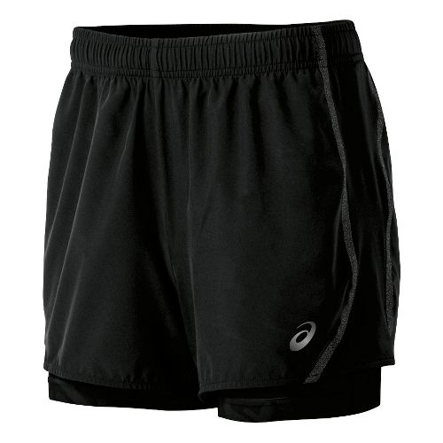 Womens ASICS Lite-Show 3-n-1 Woven 2-in-1 Shorts - Black S