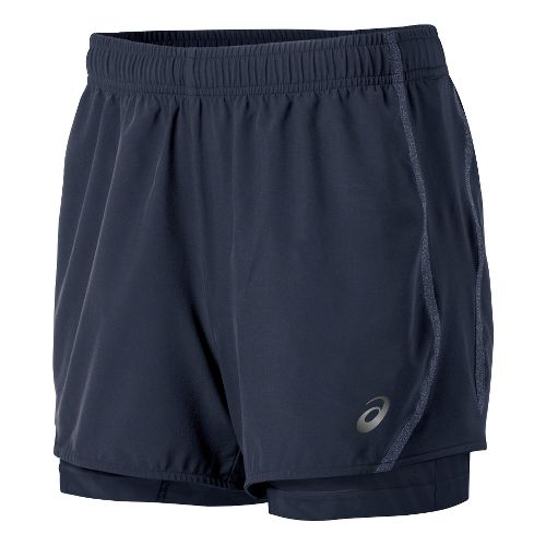Womens ASICS Lite-Show 3-n-1 Woven 2-in-1 Shorts - Dark Cobalt XL