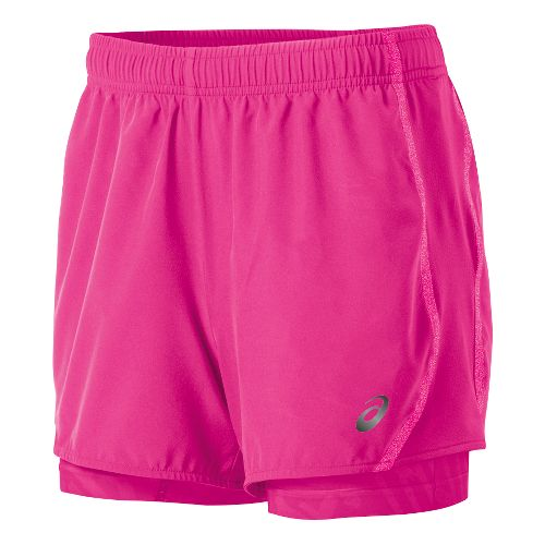 Womens ASICS Lite-Show 3-n-1 Woven 2-in-1 Shorts - Pink Glow L
