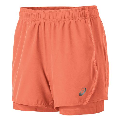 Womens ASICS Lite-Show 3-n-1 Woven 2-in-1 Shorts - Living Coral L