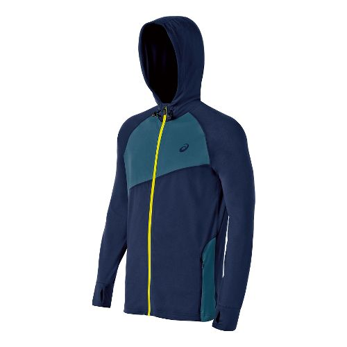 Mens ASICS Thermopolis Hoody Warm-Up Hooded Jackets - Indigo Blue/Mosaic M