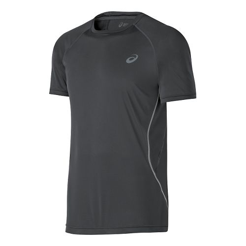 Mens ASICS Lite-Show Short Sleeve Technical Tops - Dark Grey XL