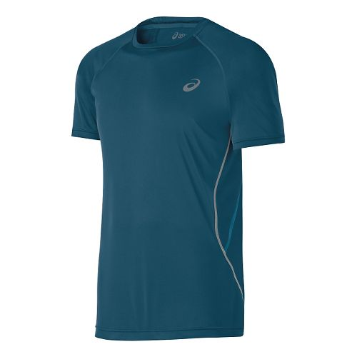 Mens ASICS Lite-Show Short Sleeve Technical Tops - Mosaic Blue XL
