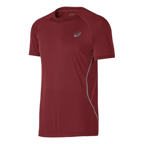 Mens ASICS Lite-Show Short Sleeve Technical Tops - Deep Ruby M