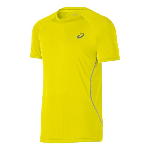 Mens ASICS Lite-Show Short Sleeve Technical Tops - Neon Yellow XL
