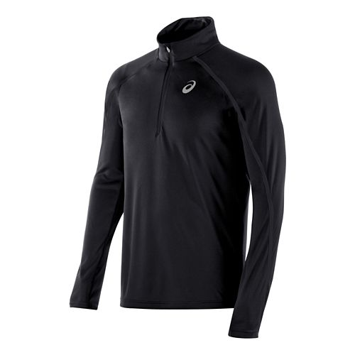 Mens ASICS Lite Show Long Sleeve 1/2 Zip Technical Tops - Black S