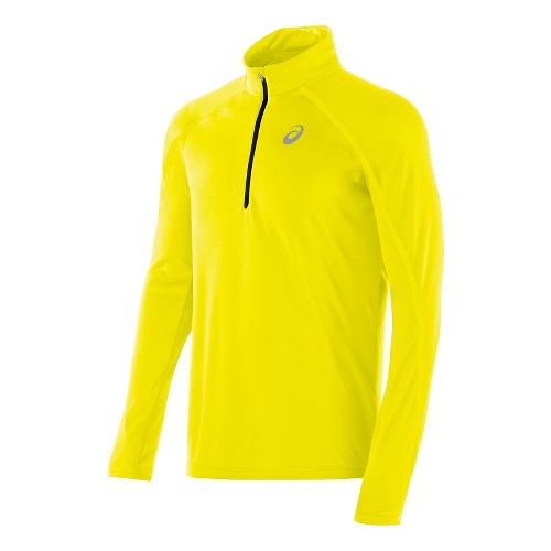 Mens ASICS Lite Show Long Sleeve 1/2 Zip Technical Tops - Neon Yellow M