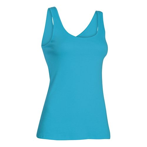 Women's Under Armour Double Threat Tank Technical Tops - Island Blues XS