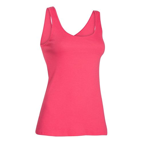 Womens Under Armour Double Threat Tank Technical Tops - Pink Shock M