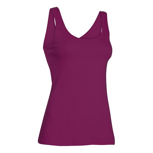 Womens Under Armour Double Threat Tank Technical Tops - Aubergine XL
