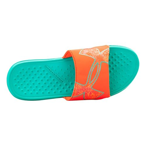 Womens Under Armour Strike Color PTY Sandals Shoe - Mosaic/After Burn 11