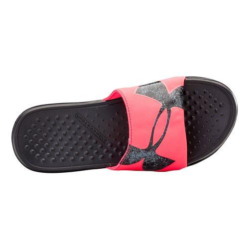 Womens Under Armour Strike Color PTY Sandals Shoe - Pink Shock/Black 8