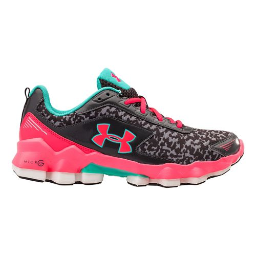 Kids Under Armour GGS Micro G Nitrous Running Shoe - Charcoal/Mosaic 7